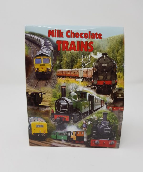 Box of milk chocolate trains