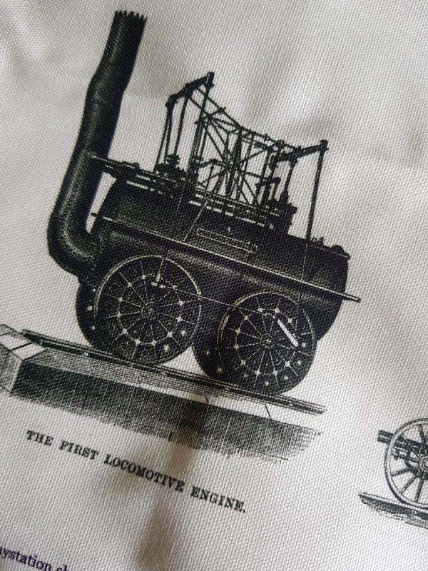 Detail of tea towel showing Locomotion No.1